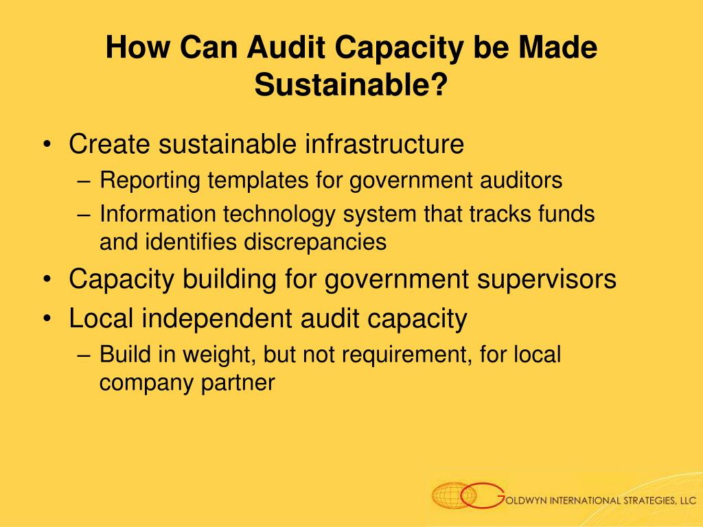 How Can Audit Capacity be Made Sustainable?