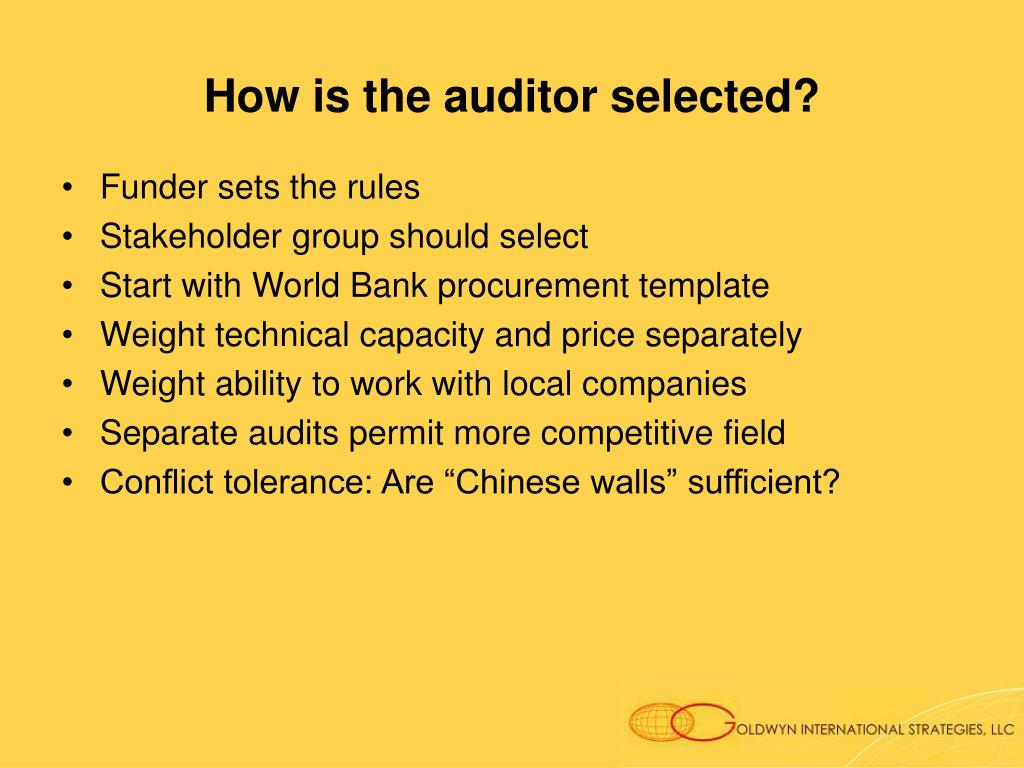 How is the auditor selected?