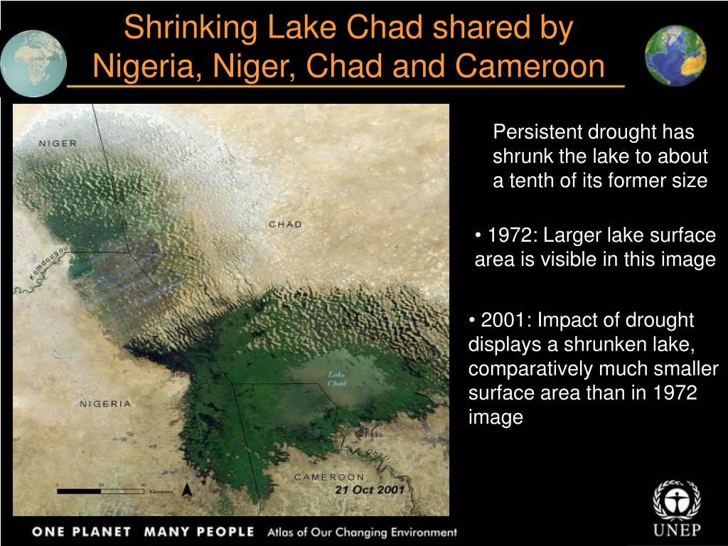 Shrinking Lake Chad shared by Nigeria, Niger, Chad and Cameroon