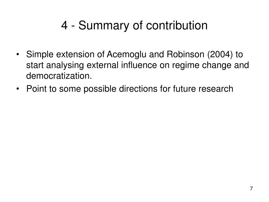 4 - Summary of contribution