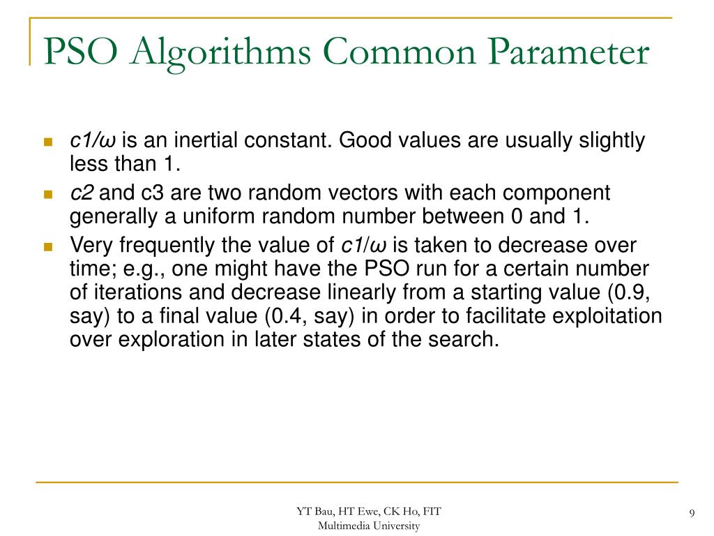 PSO Algorithms Common Parameter
