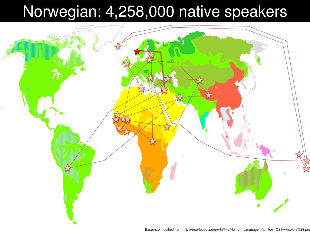 Norwegian: 4,258,000 native speakers