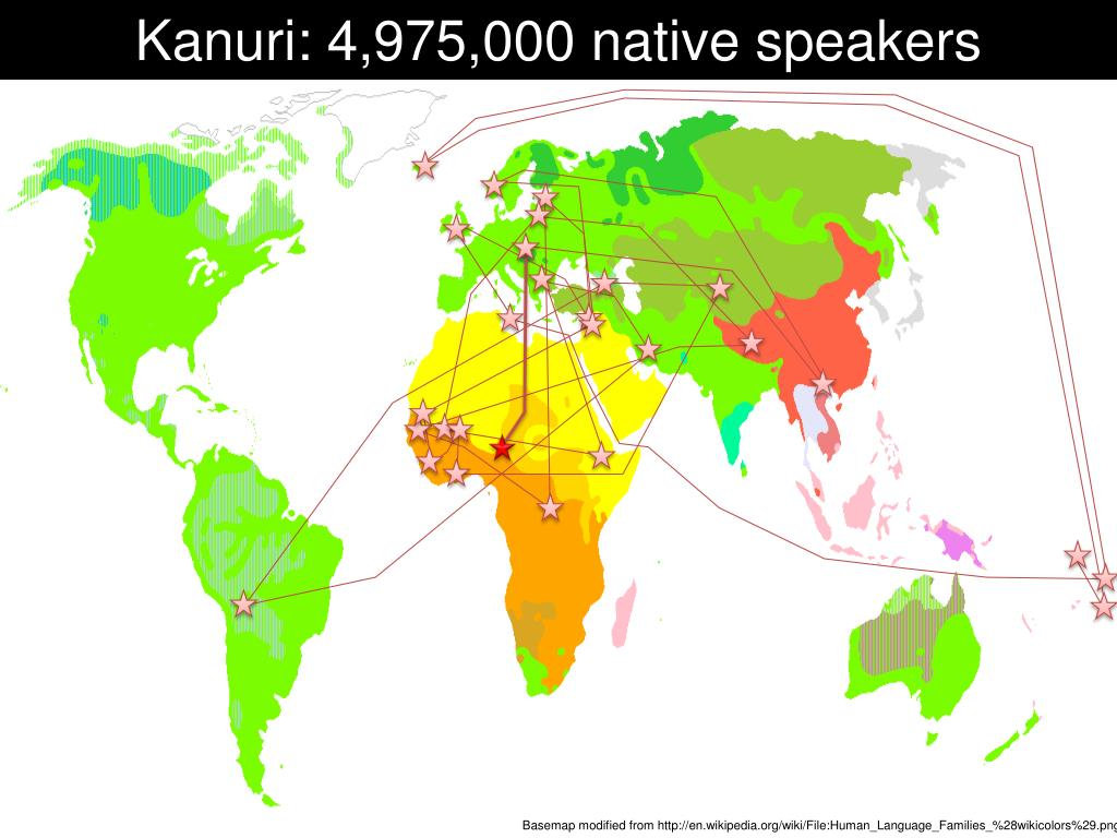 Kanuri: 4,975,000 native speakers