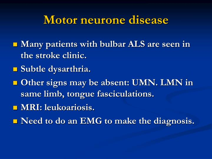 Ppt tia and stroke mimics spells powerpoint for Motor neurone disease signs and symptoms
