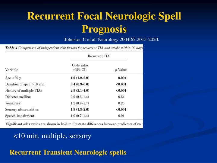 Recurrent Focal Neurologic Spell Prognosis