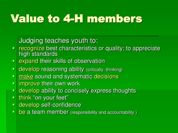 Value to 4 h members