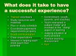 what does it take to have a successful experience
