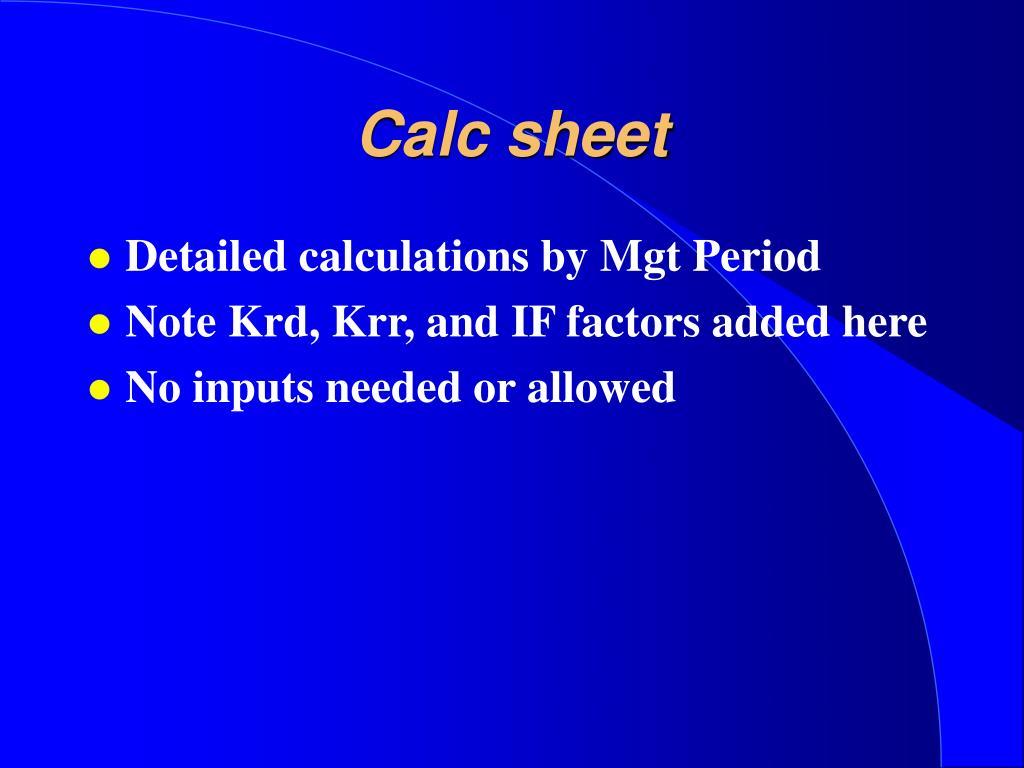 Calc sheet