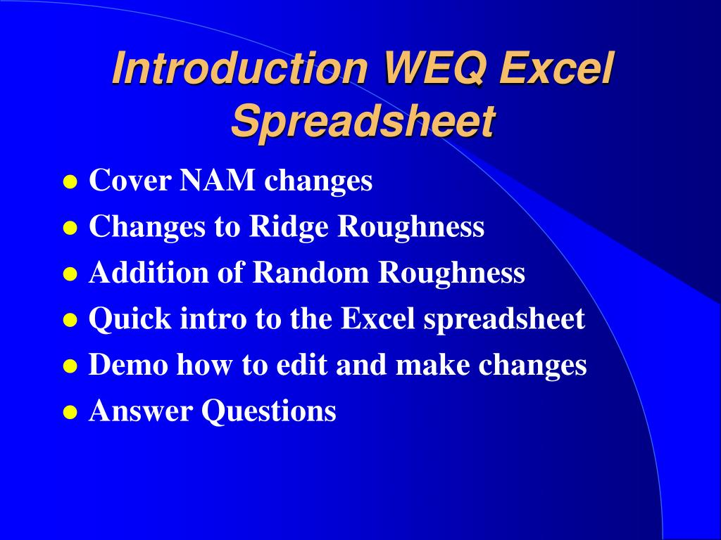 Introduction WEQ Excel Spreadsheet
