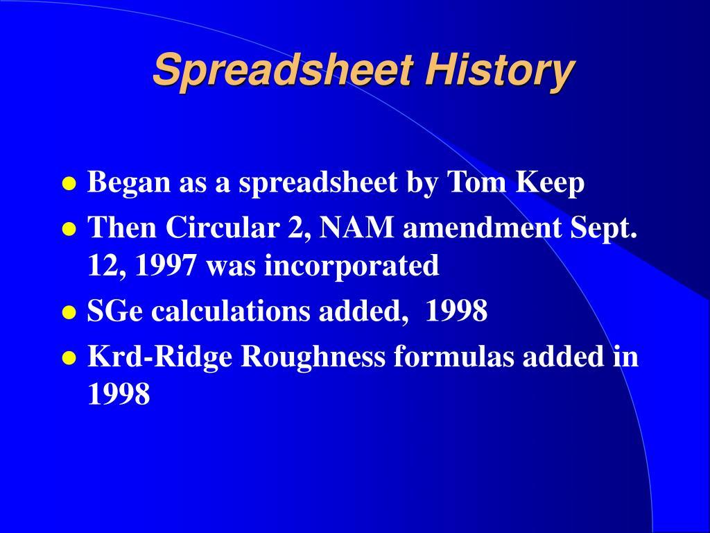 Spreadsheet History