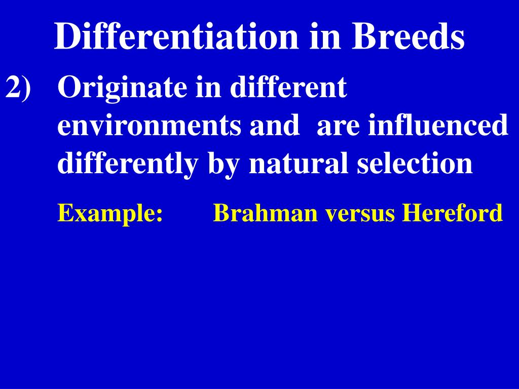 Differentiation in Breeds