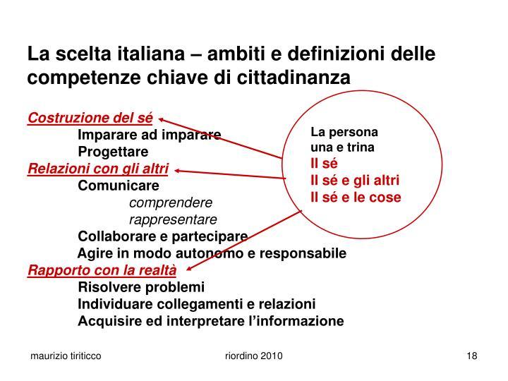 La scelta italiana  ambiti e definizioni delle