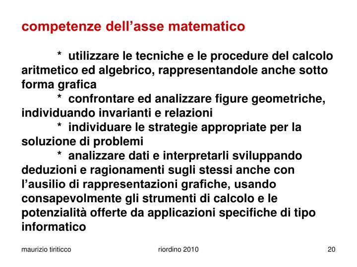competenze dellasse matematico