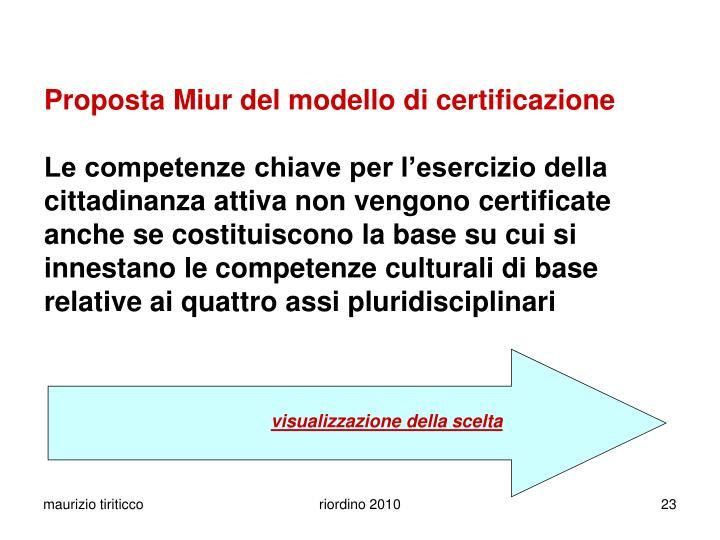 Proposta Miur del modello di certificazione