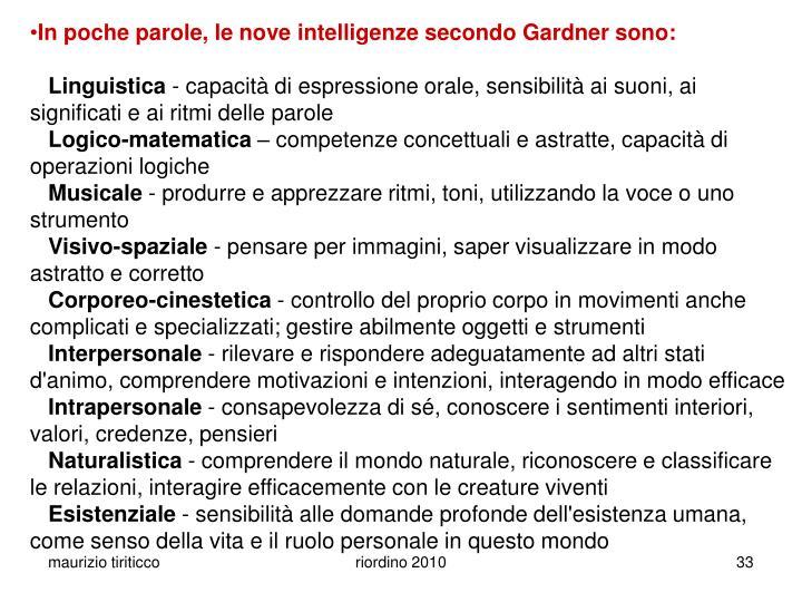 In poche parole, le nove intelligenze secondo Gardner sono: