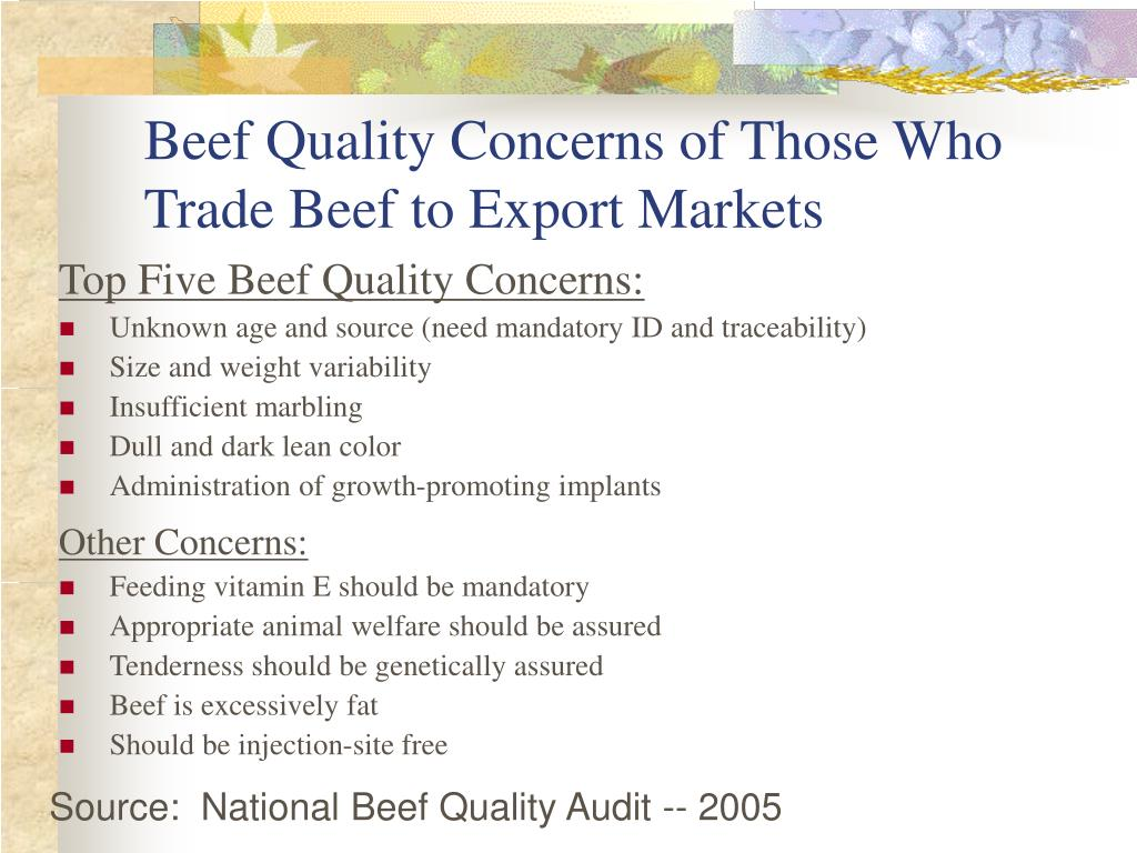 Beef Quality Concerns of Those Who Trade Beef to Export Markets