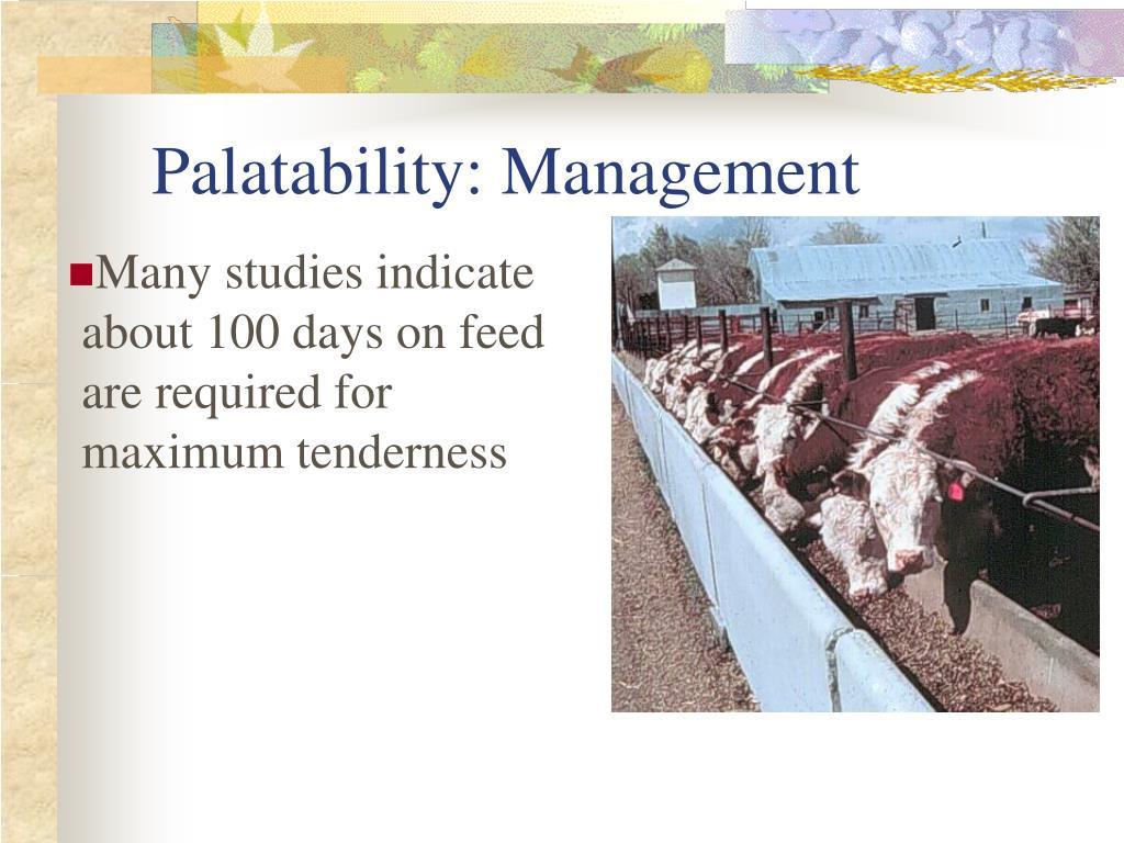 Palatability: Management