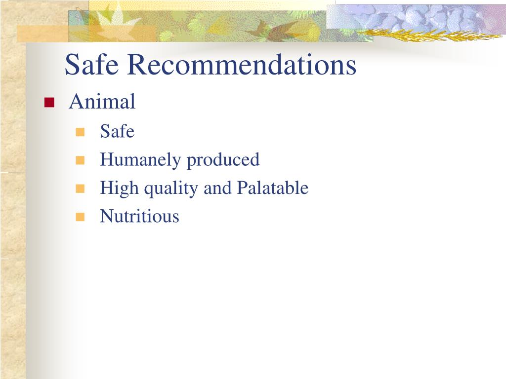Safe Recommendations
