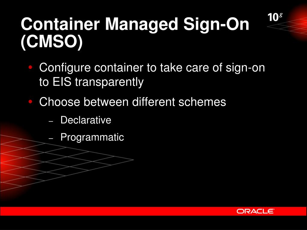 Container Managed Sign-On (CMSO)