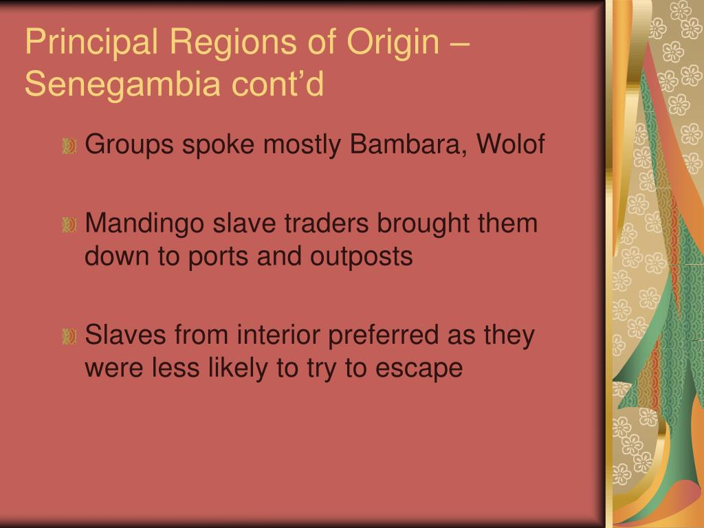 Principal Regions of Origin – Senegambia cont'd