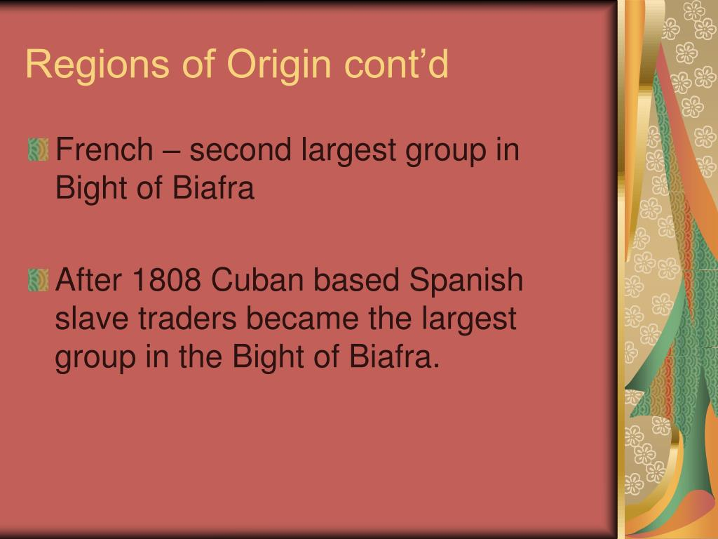 Regions of Origin cont'd