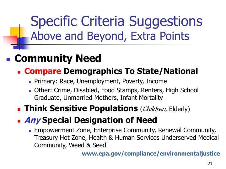 Specific Criteria Suggestions