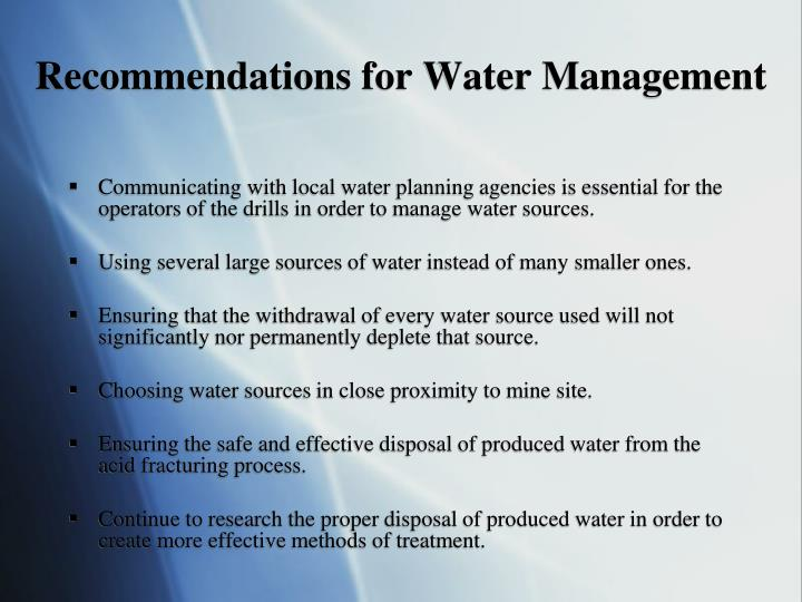 Recommendations for Water Management