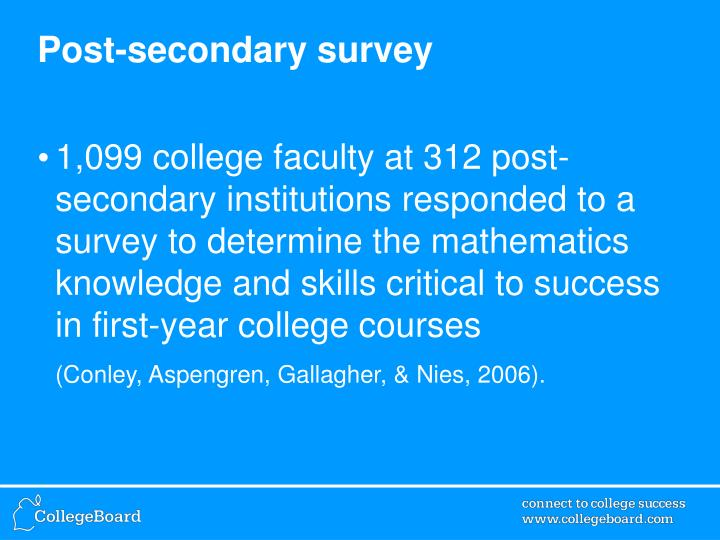 Post-secondary survey