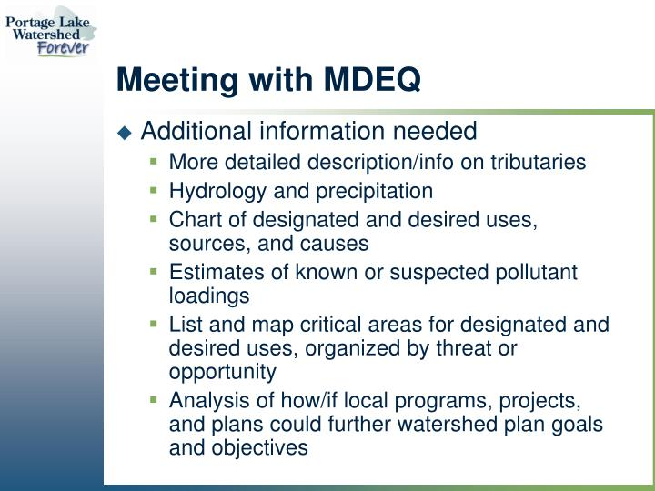 Meeting with MDEQ