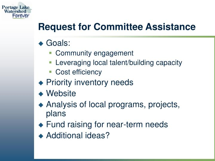 Request for Committee Assistance
