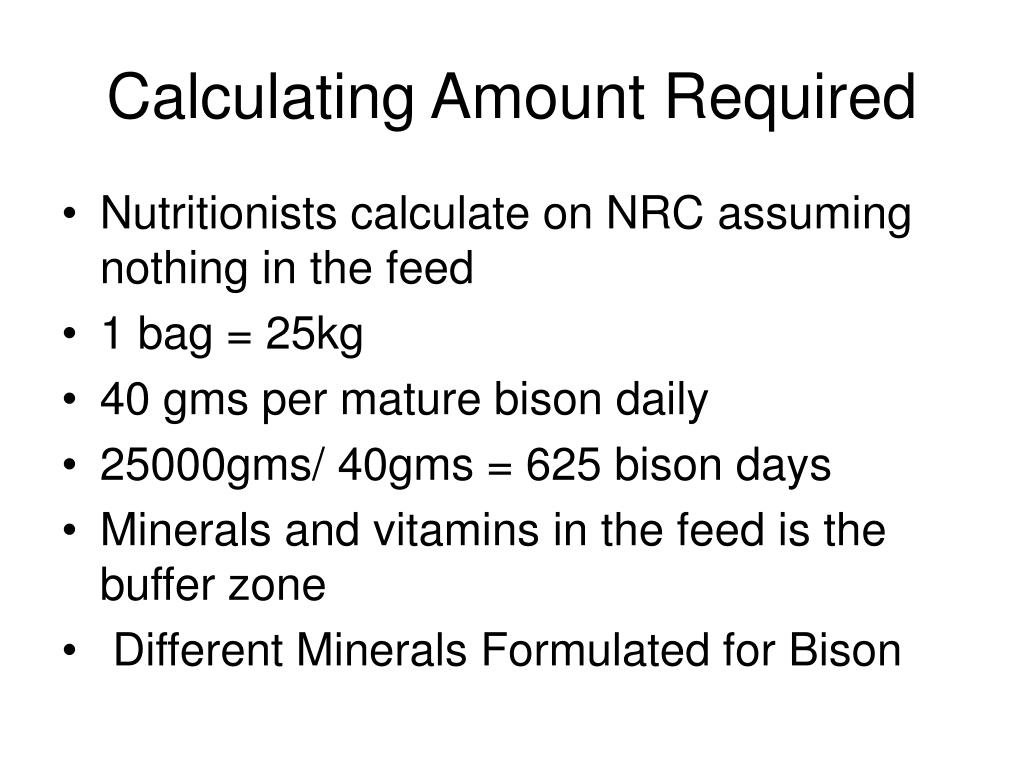 Calculating Amount Required