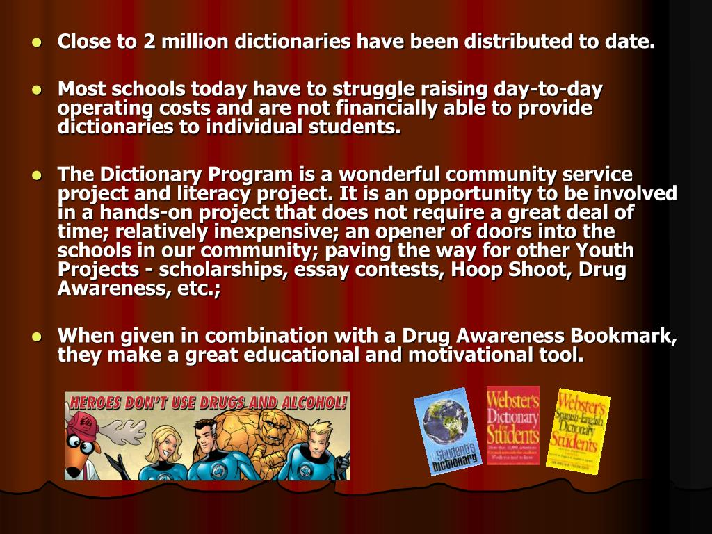 Close to 2 million dictionaries have been distributed to date.