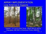 array implementation loop antennas supports