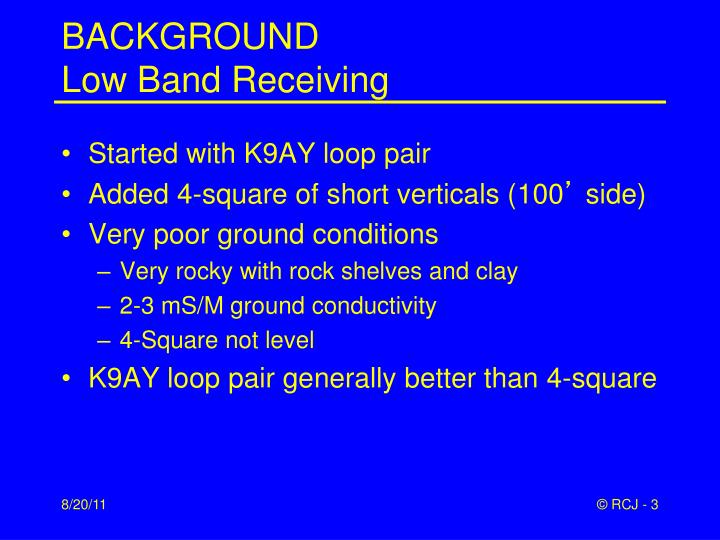 Background low band receiving