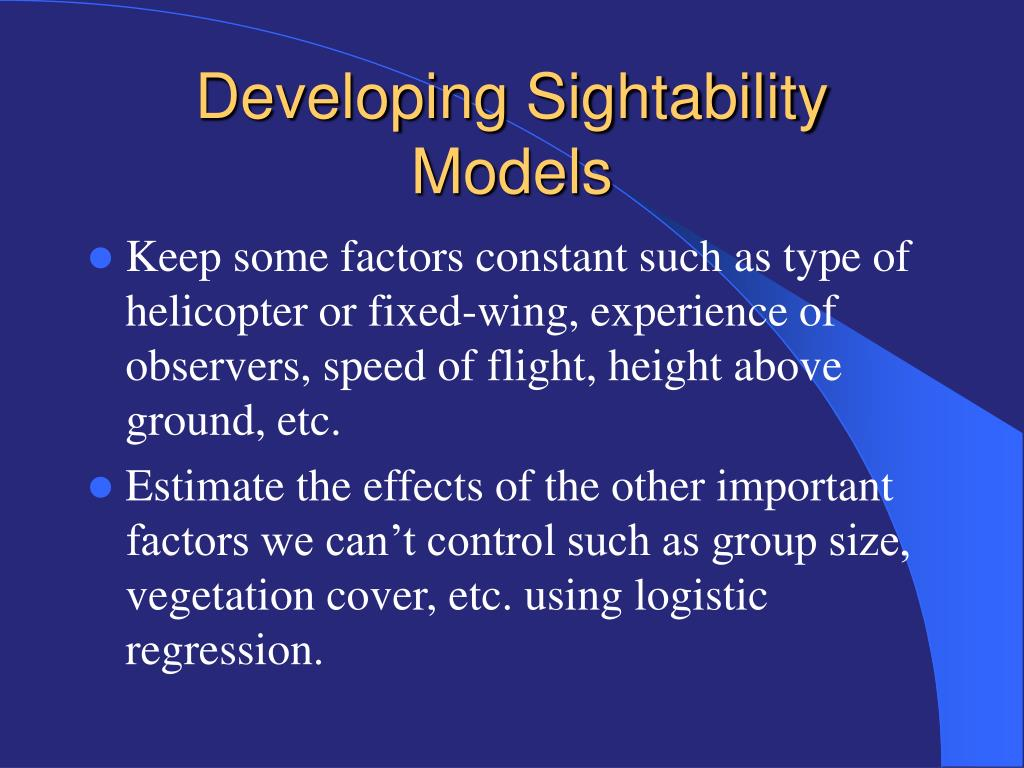 Developing Sightability Models