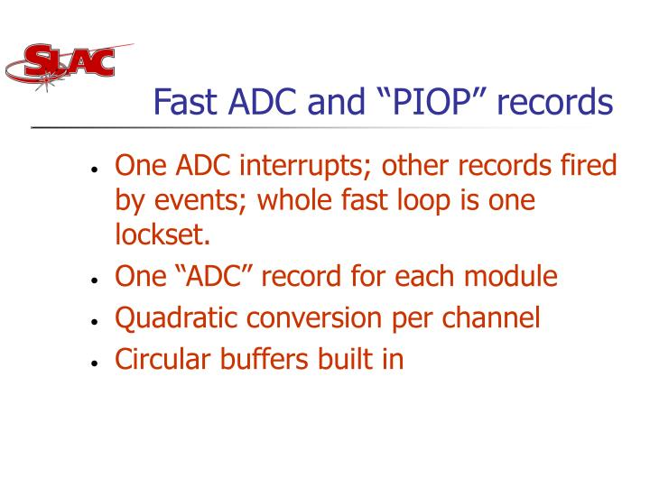 "Fast ADC and ""PIOP"" records"