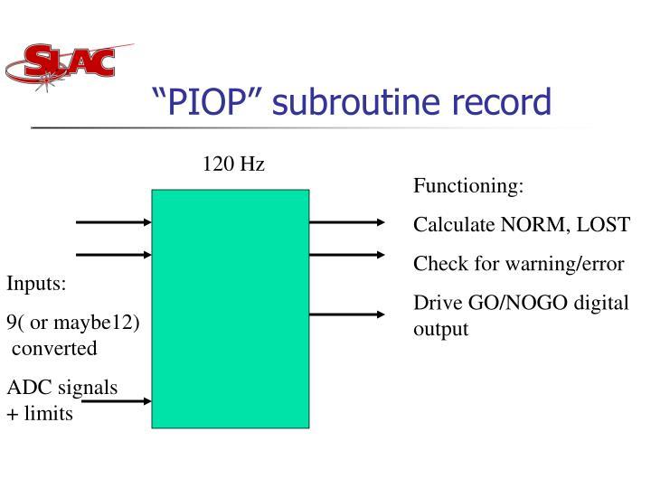 """PIOP"" subroutine record"