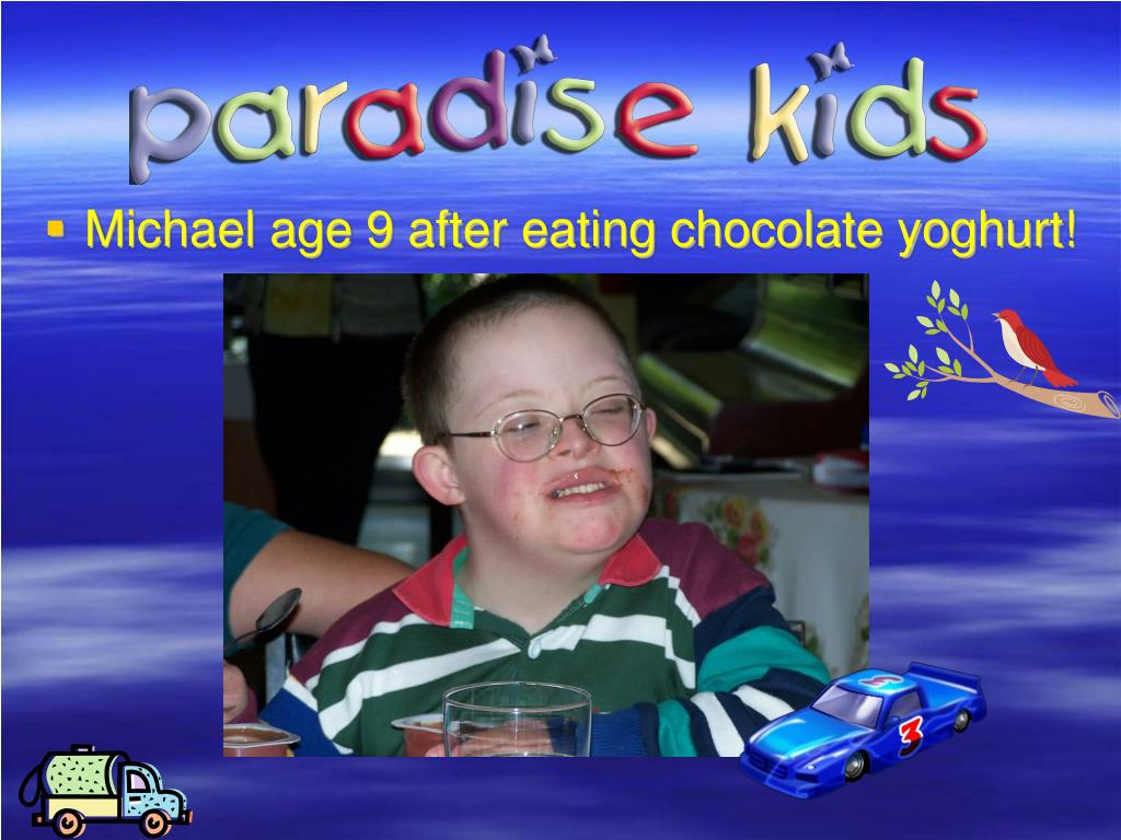 Michael age 9 after eating chocolate yoghurt!