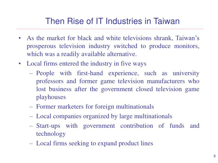 Then Rise of IT Industries in Taiwan