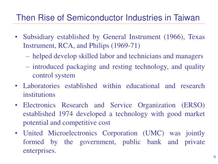 Then Rise of Semiconductor Industries in Taiwan