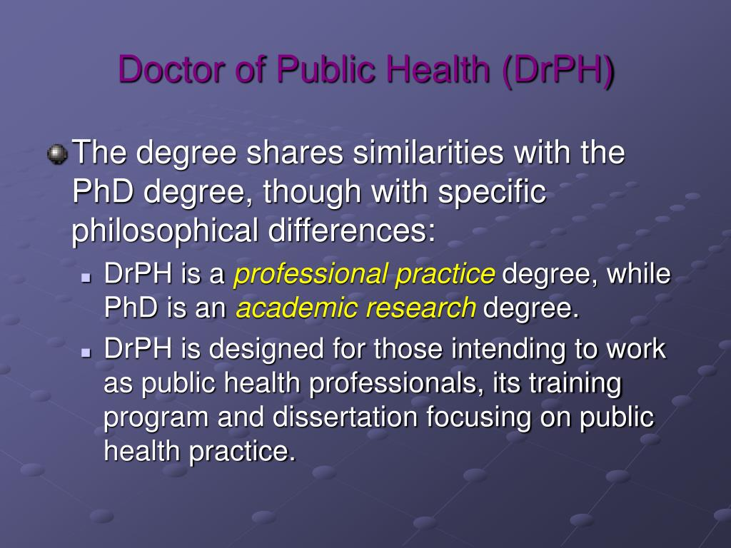 Doctor of Public Health (DrPH)