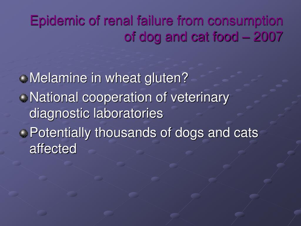 Epidemic of renal failure from consumption of dog and cat food – 2007