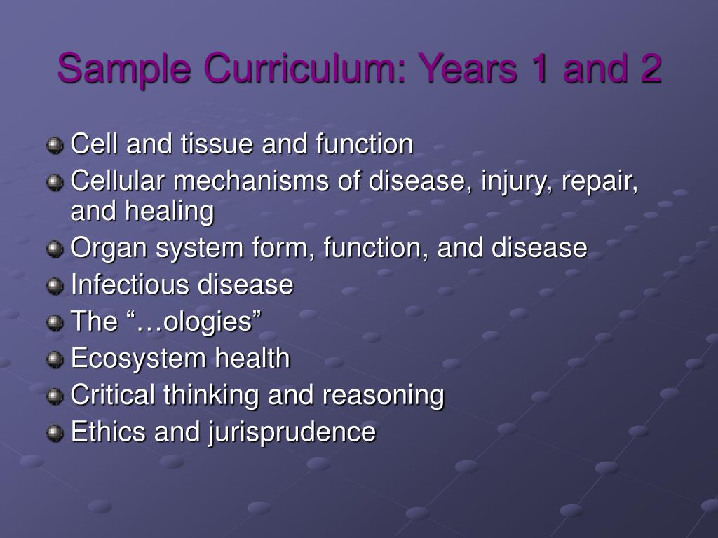 Sample Curriculum: Years 1 and 2