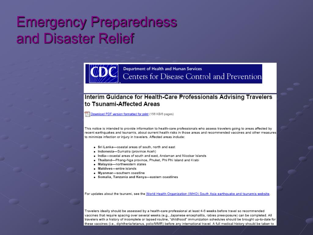 Emergency Preparedness and Disaster Relief
