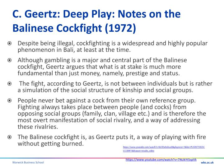 clifford geertz deep play notes on Hi all: here is the thick description by anthropologist clifford geertz that kemal referred too hope it gives some inspiration and guidance what a thick description looks like in wikipedia the central element of a thick description is to give a detailed account of the context, which brings us beautifully back to the verstehen topic.