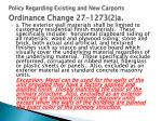 policy regarding existing and new carports ordinance change 27 1273 2 a