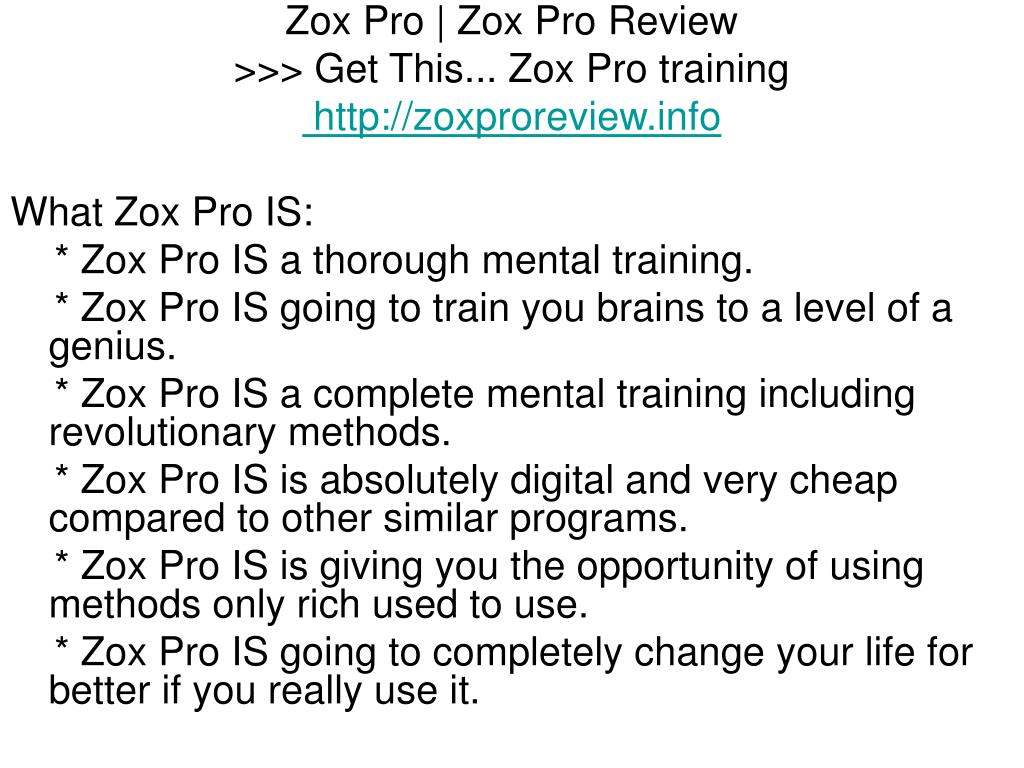 Zox Pro | Zox Pro Review