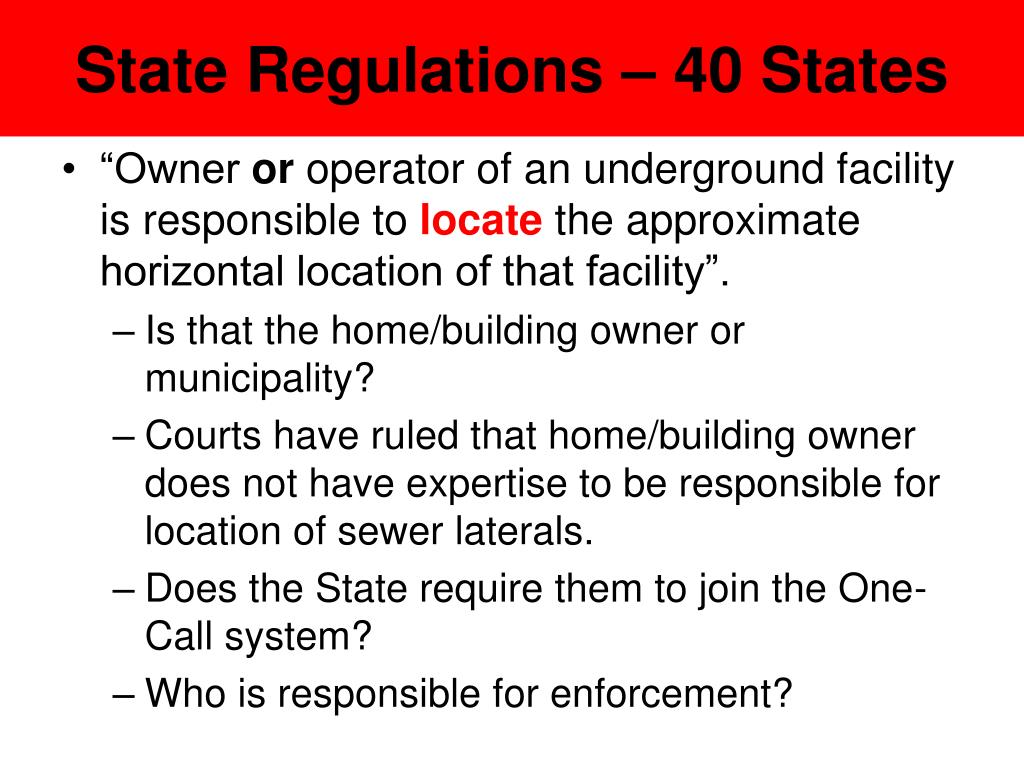 State Regulations – 40 States