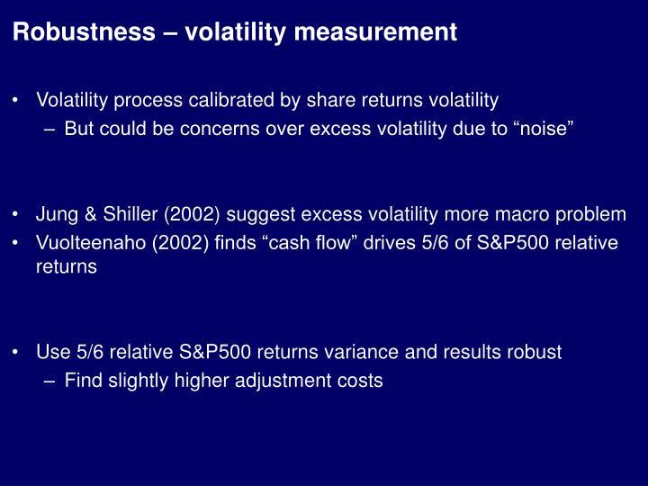 Robustness – volatility measurement
