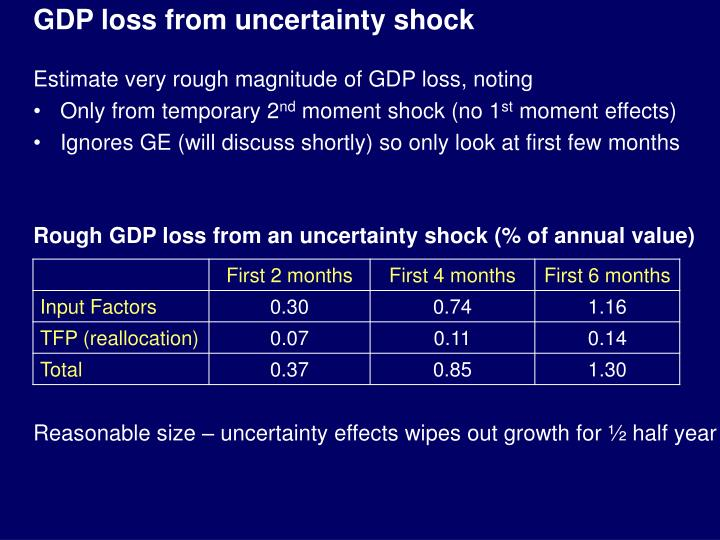 GDP loss from uncertainty shock